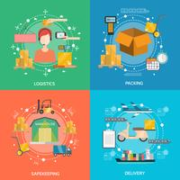 Conjunto de ícones de conceito de logística vetor