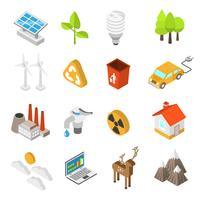 Conjunto de ícones de proteção de ecologia e meio ambiente vetor