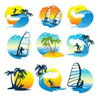 Conjunto de ícones de surf com pessoas vetor