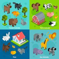 Conjunto de animais isométricos