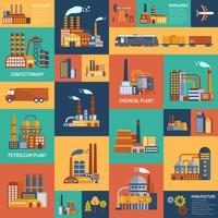 Conjunto de ícones com diferentes tipos de empresas industriais
