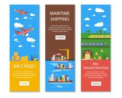 Conjunto de bandeiras de logística e entrega vetor