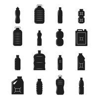 Silhuetas de garrafa de plástico vetor