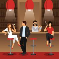 Ilustração plana de bar