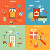 M-commerce e conjunto de ícones de compras vetor