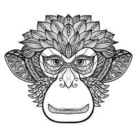 Cara de Doodle de macaco vetor