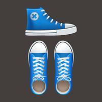 Sapatilhas tennies populares ícones de calçados da juventude vetor