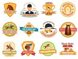 Conjunto de emblemas de cor de desporto cavalo