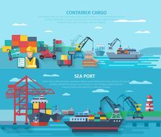 Conjunto de Banner Horizontal de Porto Marítimo