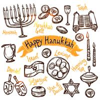 conjunto de doodle de hanukkah vetor