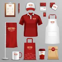 Conjunto de ícones de identidade corporativa do restaurante café vetor