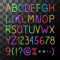 Conjunto de alfabeto de néon vetor