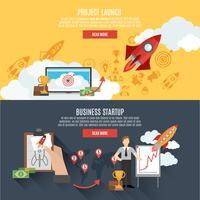 Banners de lançamento de foguete design de página da Web interativa vetor