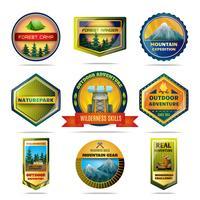Conjunto de emblemas de campismo vetor