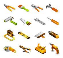 Ícones isométricos de ferramentas vetor