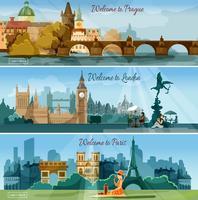 Conjunto de bandeiras planas de cidades turísticas populares vetor