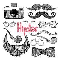 Conjunto de ícones de acessórios de estilo de cabelo hipster vetor
