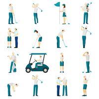 Conjunto de pessoas de golfe plana vetor