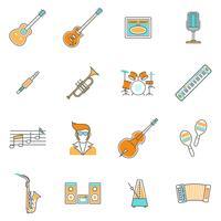 Conjunto de linha de ícones de música