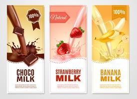 Conjunto de Banners de leite doce vetor