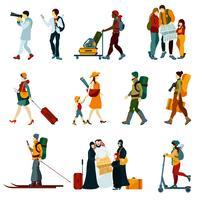 Conjunto de pessoas turísticas