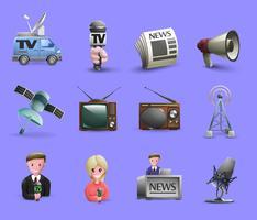 Conjunto de ícones de mídia de massa vetor