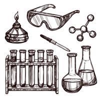 Conjunto de mão desenhada de ferramentas de química vetor