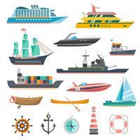 Conjunto de ícones de navios vetor