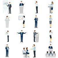 Conjunto de ícones plana de pessoas de falar em público vetor