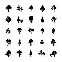 Conjunto de árvore preto e branco vetor