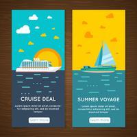 Conjunto de banners verticais de cruzeiro mar 2 vetor