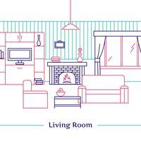 Design de linhas de sala de estar vetor