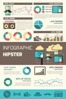 Conjunto de infográficos hipster vetor