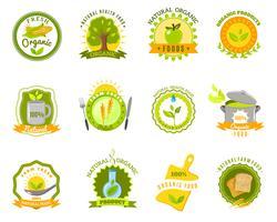 Modelos de rótulos de marcas de alimentos orgânicos definida plana vetor