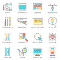 Conjunto de linha de ícones de designer vetor