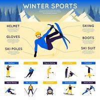 Infografia de desportos de inverno