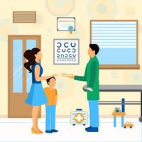 Criança, doutor, pediatra, ilustração vetor
