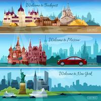 Banners de cidades famosas vetor