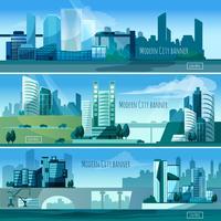 banners modernos de paisagens urbanas vetor