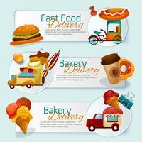 Conjunto de Banner de entrega de comida vetor