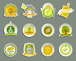 Conjunto de adesivos de marcas de alimentos orgânicos naturais vetor