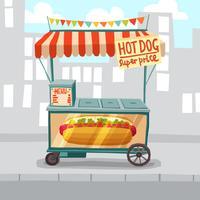 Loja de rua de cachorros-quentes vetor
