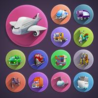 Transporte, caricatura, ícones, jogo