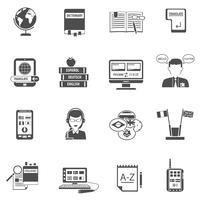 Conjunto de ícones plana de tradutor multilíngüe