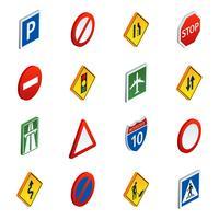Conjunto de ícones isométrica de sinais de tráfego rodoviário