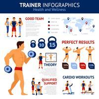 Conjunto de infográficos de treinador vetor