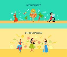 Banners horizontais de estilo de dança plana vetor