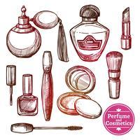 Conjunto de cosméticos mão desenhada estilo