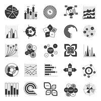 Conjunto de negócios preto e branco de gráfico