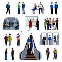Coleção de ícones plana de passageiros do metrô
